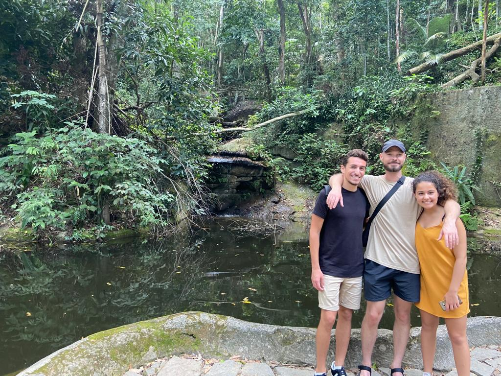 Students in front of the waterfall