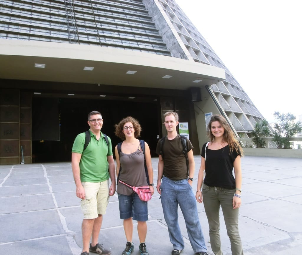Students at the cathedral of Rio de Janeiro