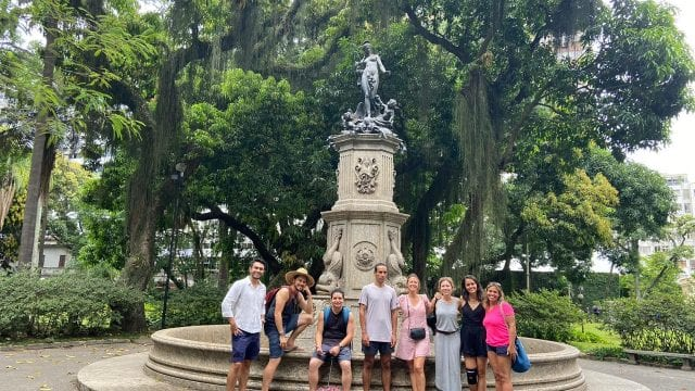 Knowing the history. Students at Catete Palace Fountain