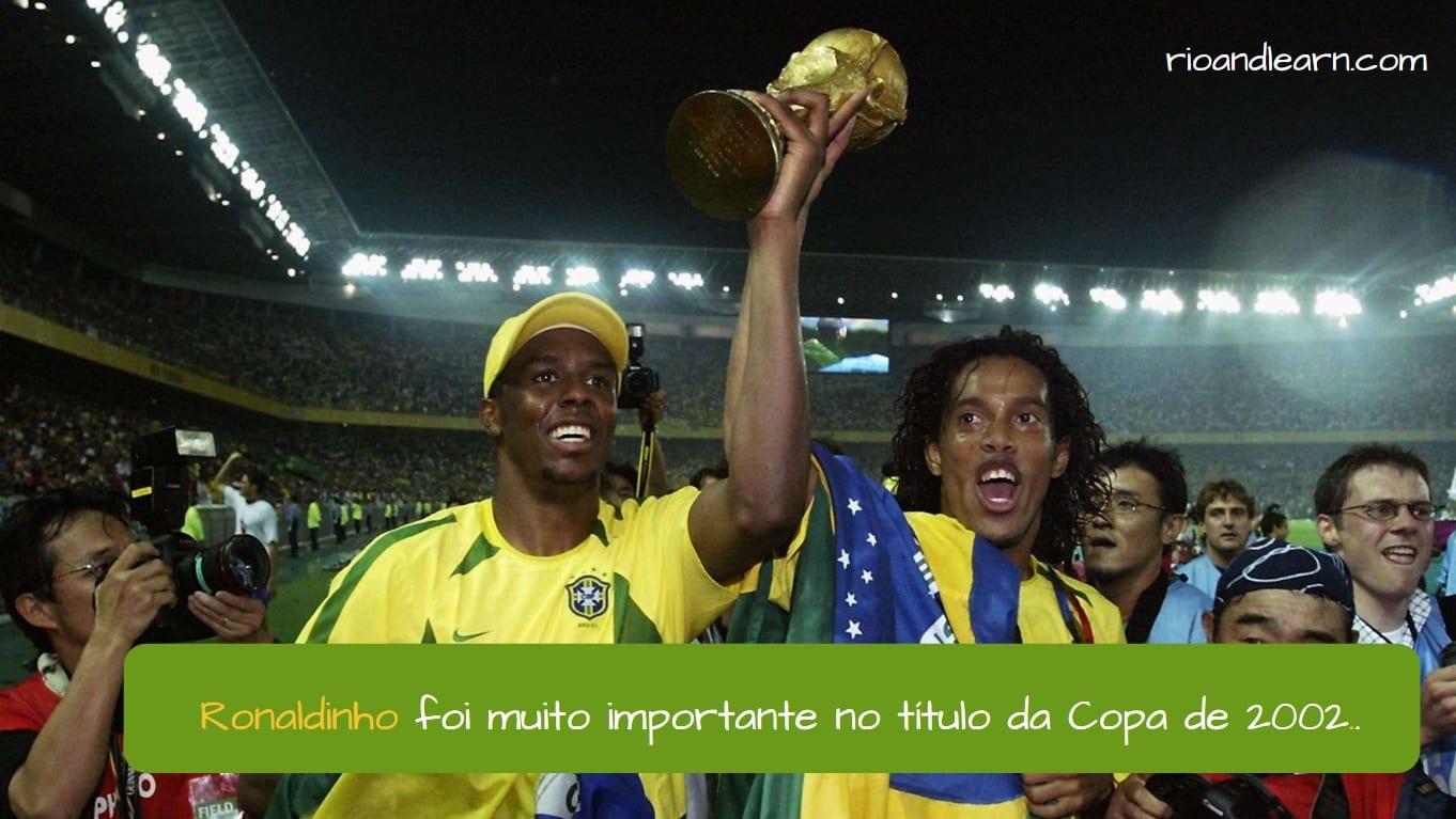Ronaldinho. Ronaldinho foi muito importante no título da Copa de 2002.