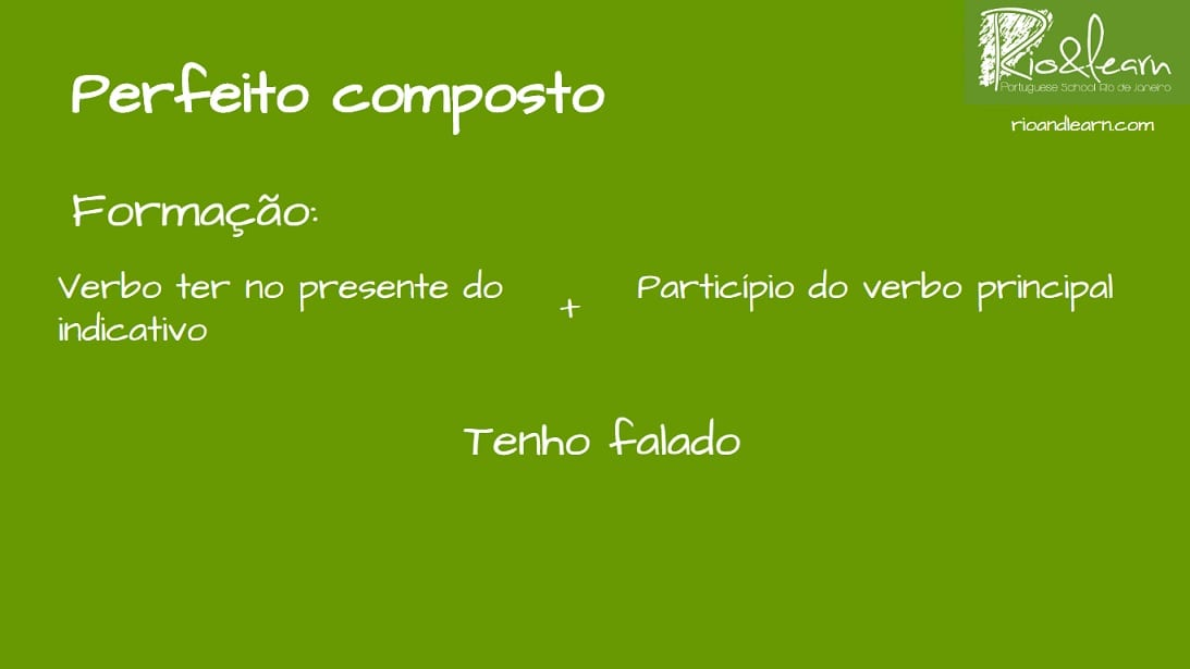 Present Perfect in Portuguese formation: verb ter in the present + participle form of the main verb. Example: tenho falado.