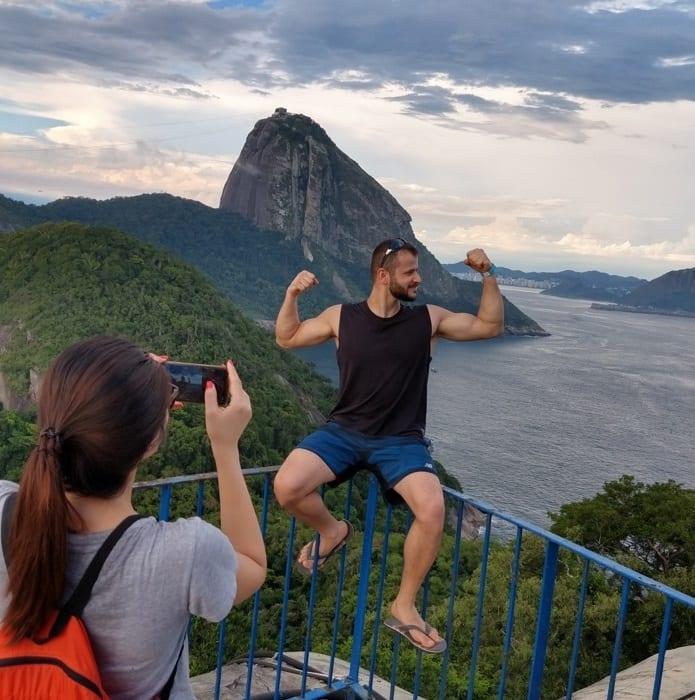 Student posing at Forte do Leme, Rio de Janeiro.