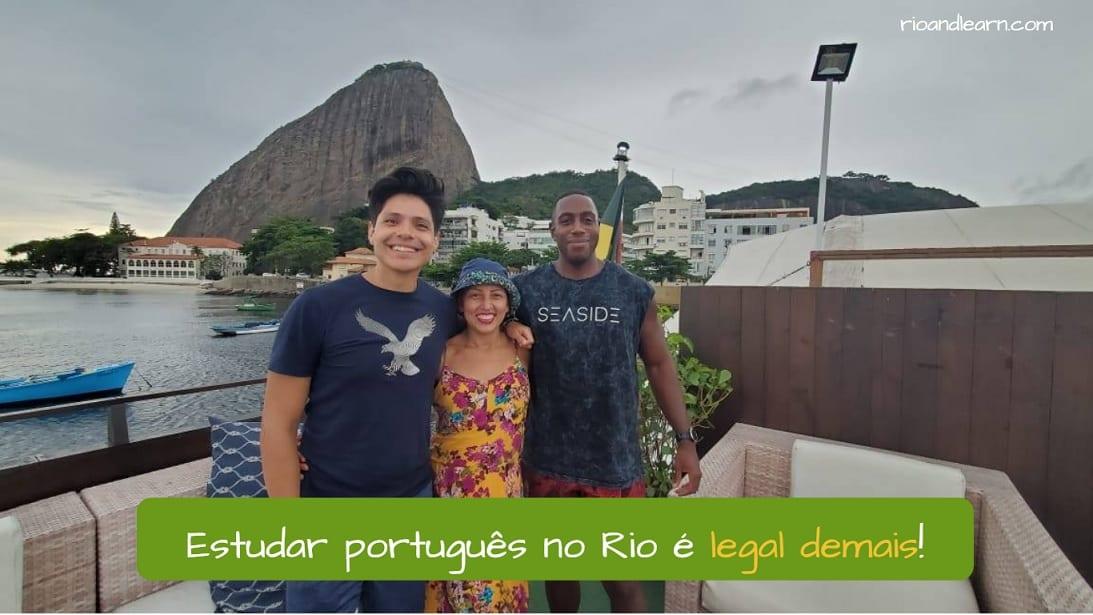 Example about demais meaning: Estudar português no Rio é legal demais!