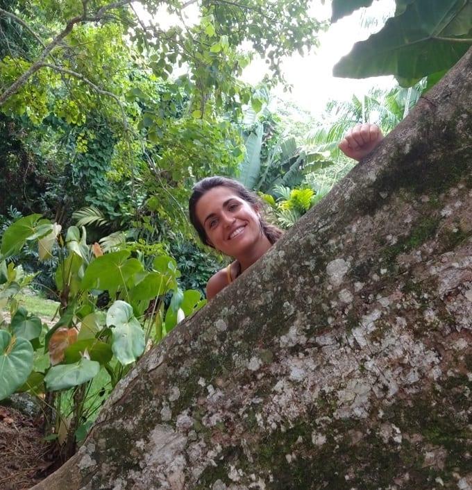 Learn Portuguese in 30 days. Student and a tree at Jardim Botânico, Rio de Janeiro.