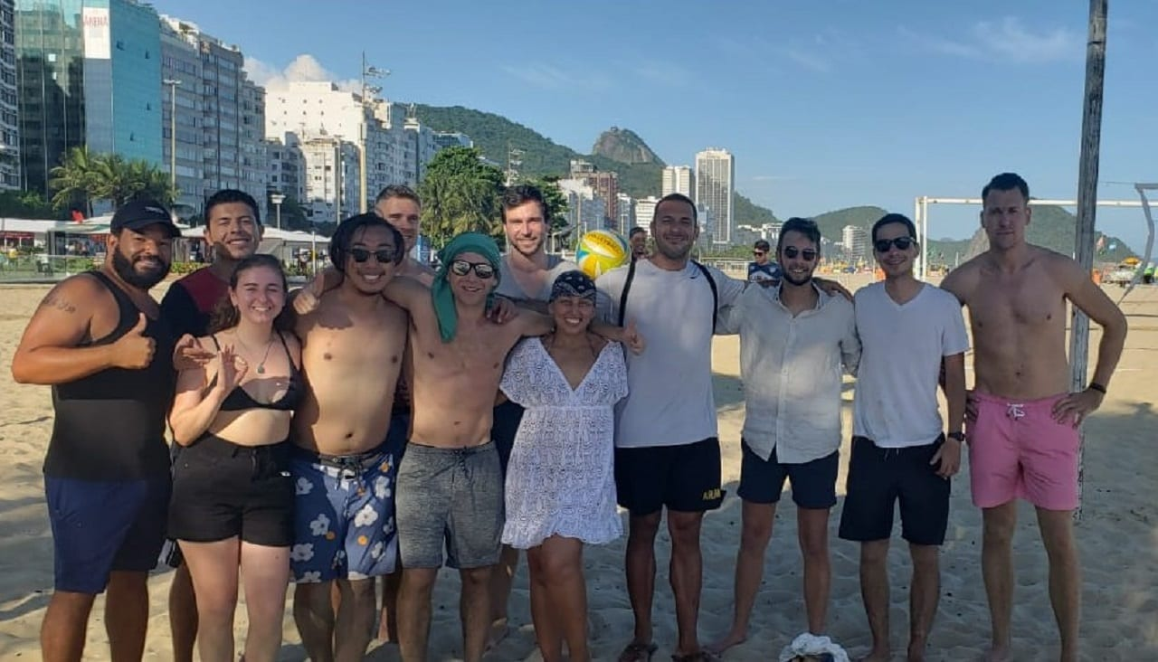 Our great team after being playing volleyball as cariocas at Copacabana