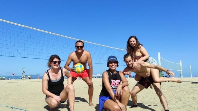 We had a lot of fun playing beach volleyball at Copacabana