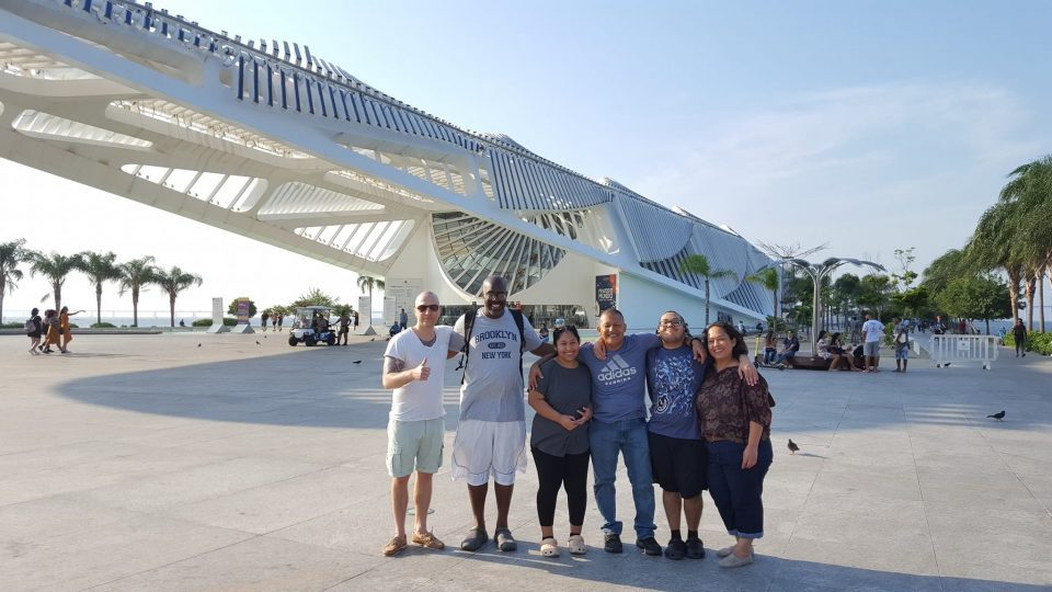 Best Way to Learn Portuguese. Study in Brazil and learn Portuguese by practicing with native speakers. Picture of students from Rio & Learn in front of Museu do Amanhã for a RioLIVE! activity.