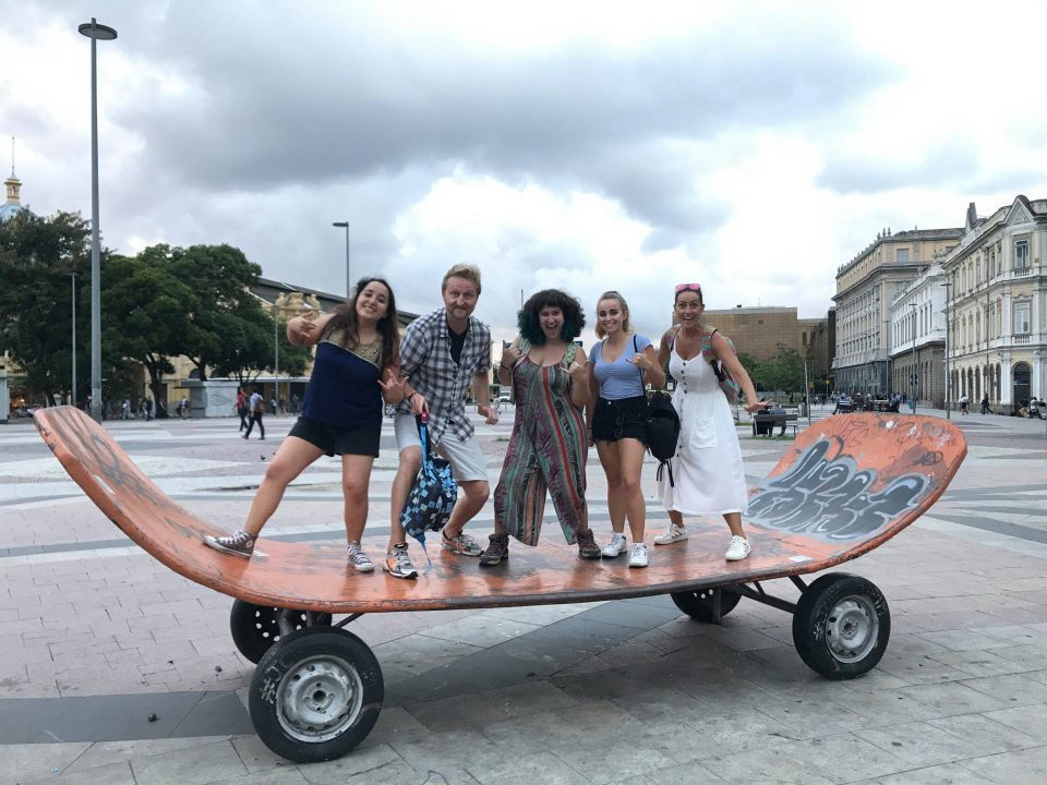 Best Way to Learn Portuguese. Learn in Brazil with people from all over the world. Immerse yourself. Picture of students from Rio & Learn in downtown Rio during a RioLIVE! activity.