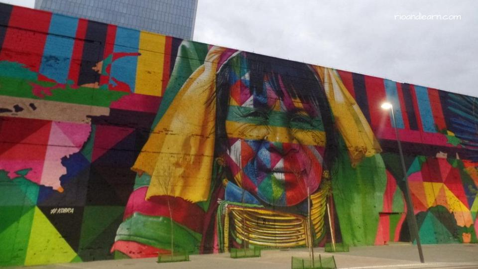 Indian Day in Brazil. Mural of a Native American person at Porto Maravilha in Rio de Janeiro, Brazil.