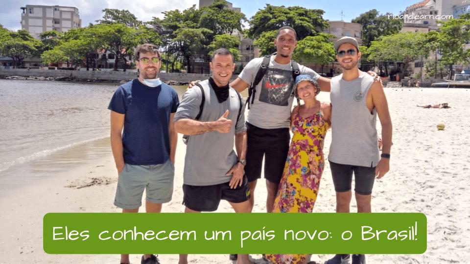 Ejemplo de palabras difíciles en portugués (país): Eles conhecem um país novo: o Brasil!