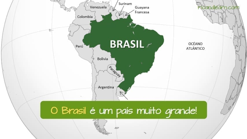 Países com artigo em Português. Exemplo: O Brasil é um país muito grande!