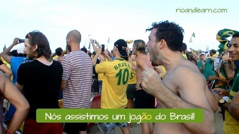 Ejemplo de aumentativo en portugués: Nós assistimos um jogão do Brasil.