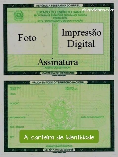 Carteira de identidade brasileira. Carteira de identidade sem foto, sem digital e em branco.