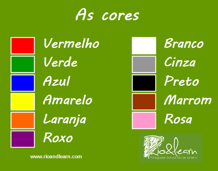 Colours - Rio & Learn Portuguese School. As cores em Português da Dica do Dia
