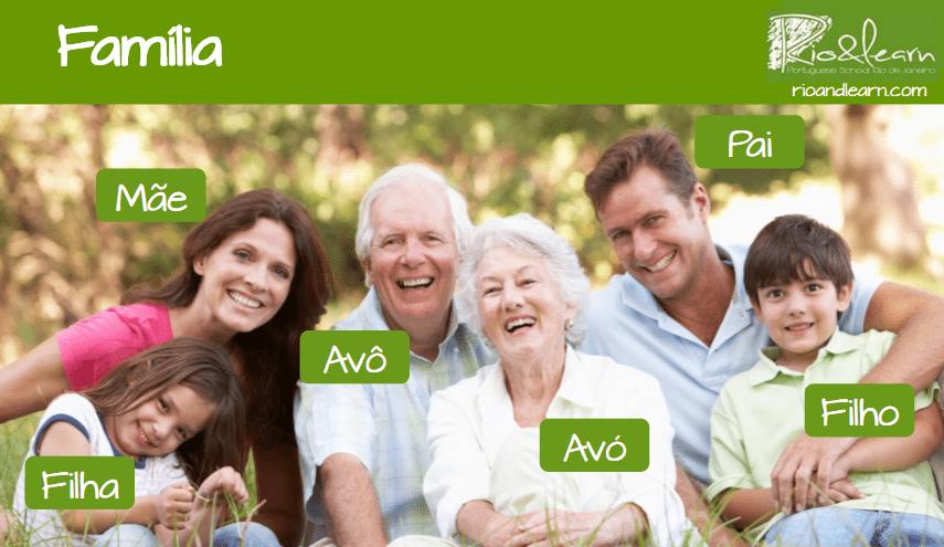 La familia en Portugués. Pai, Mão, Avô, Avó, Filho, Filha.