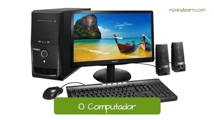 Partes de la Computadora en Portugués. O computador.