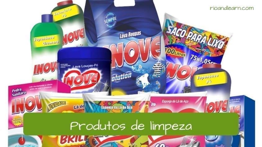 Productos de limpieza en portugués