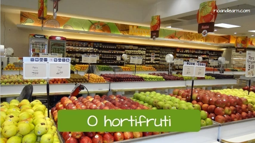 Example of a section of the supermarket in Portuguese: o hortifruti