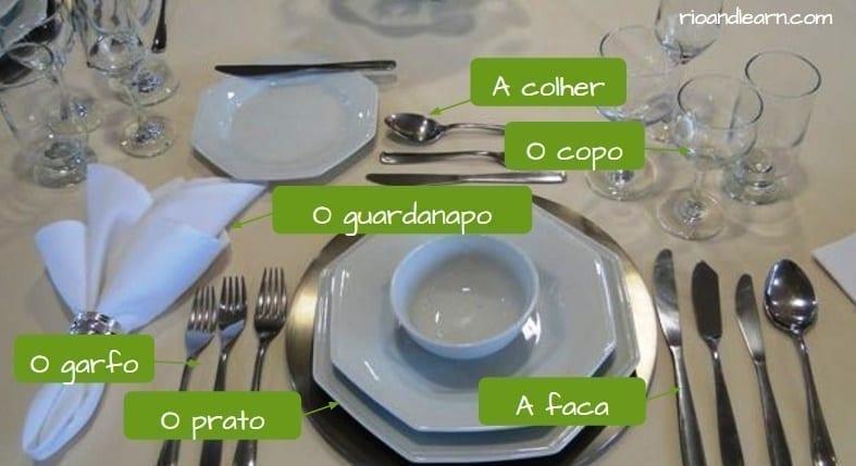 Talheres em Português. A colher, O copo, O garfo, O prato, A faca, O guardanapo.