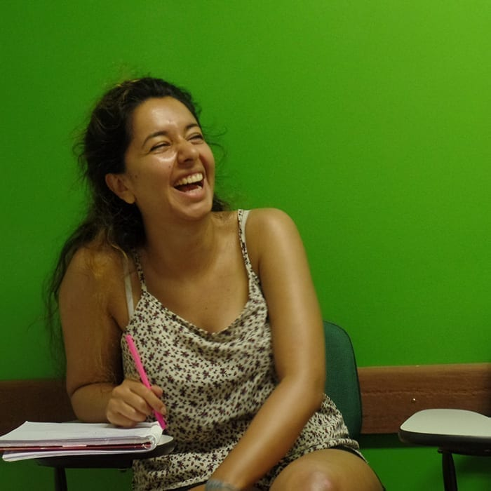 Student from Sweden having fun during the Portuguese classes in Brazil.