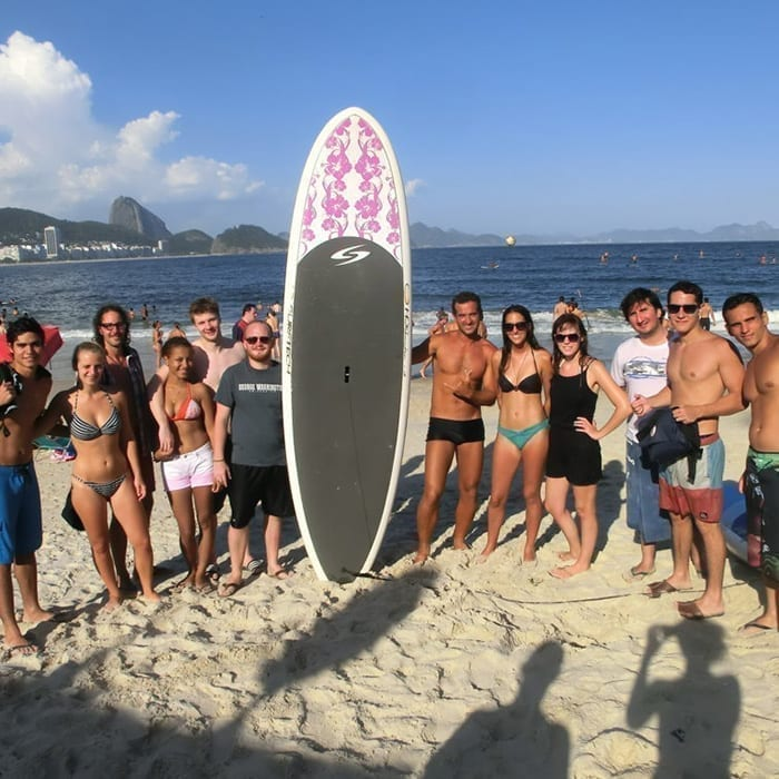 Portuguese students learning how to surf in Rio de Janeiro.