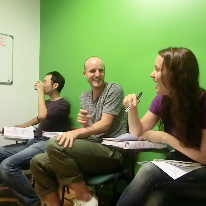 Fun Portuguese class in Rio de Janeiro. Students having fun while they learn Portuguese.