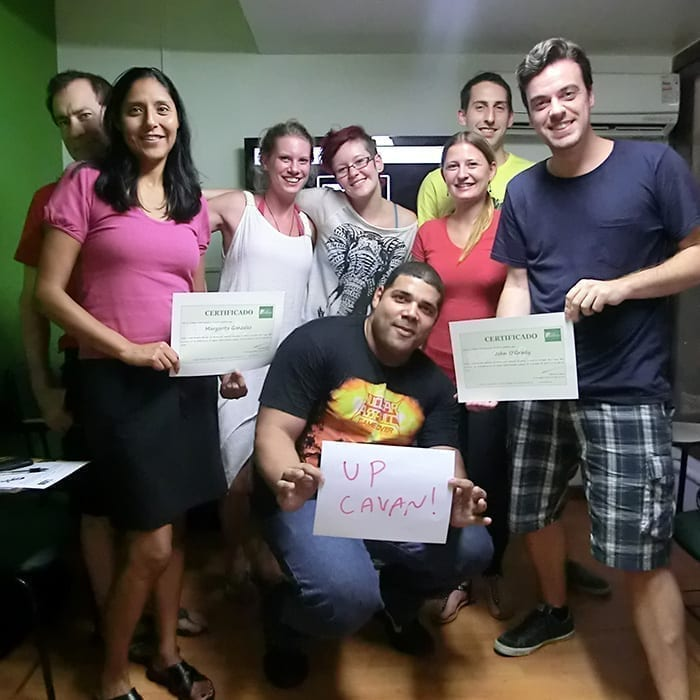 Fun Portuguese Class in Rio de Janeiro. Foreigners students receiving their Portuguese certificate.