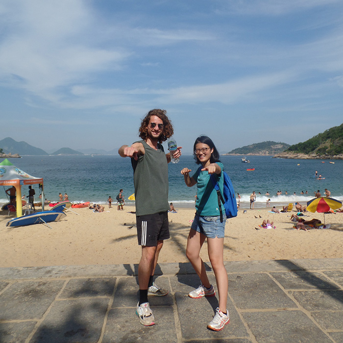 Portuguese immersion class at the beach. Student from the Netherlands and China practicing Portuguese.