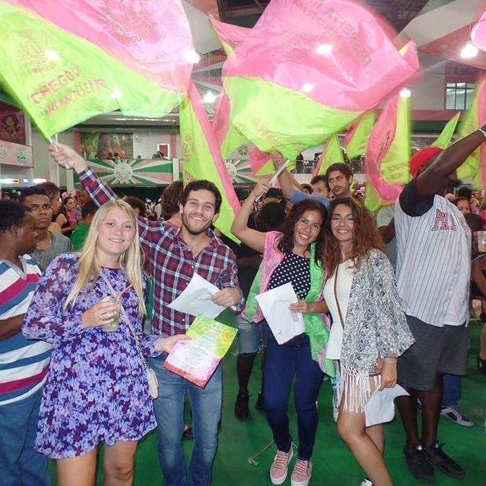 Portuguese immersion in Rio de Janeiro. Foreigners students visiting a Samba School in Rio de Janeiro.
