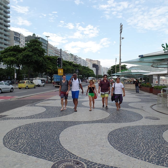 Students of Portuguese language at Copacabana beach.