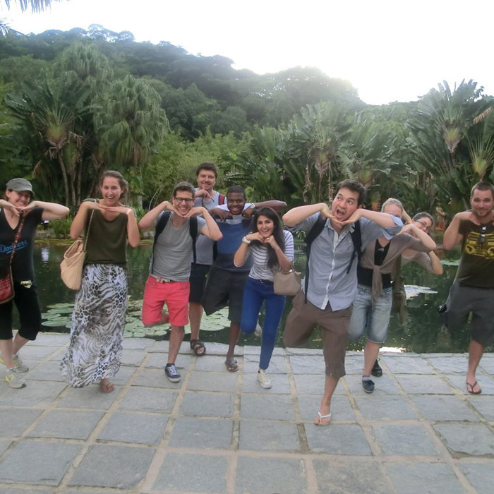 Having fun at Jardim Botânico during the Portuguese Class. Visit Rio and Learn Portuguese.