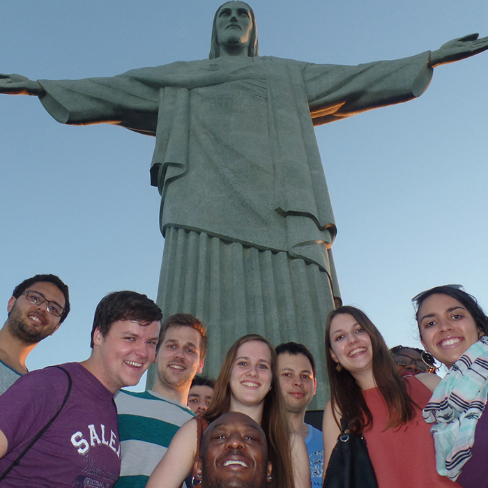 Students of Portuguese having fun at Corcovado in Rio de JAneiro.