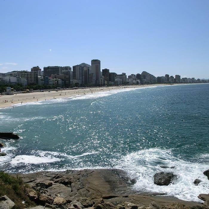 View of Copacabana from Arpoador in Rio de Janeiro.
