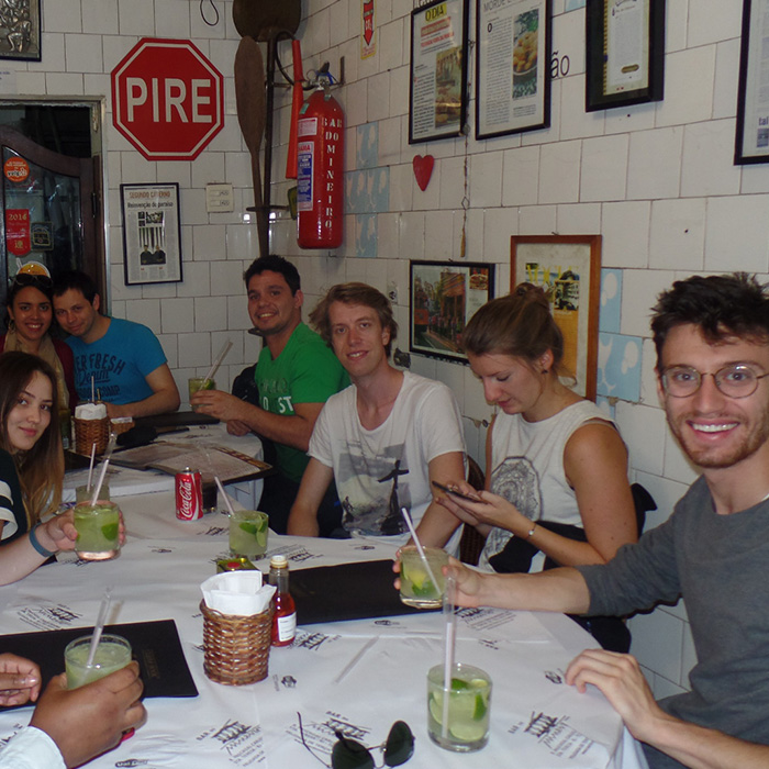 Brazilian Portuguese Students drinking Caipirinha.