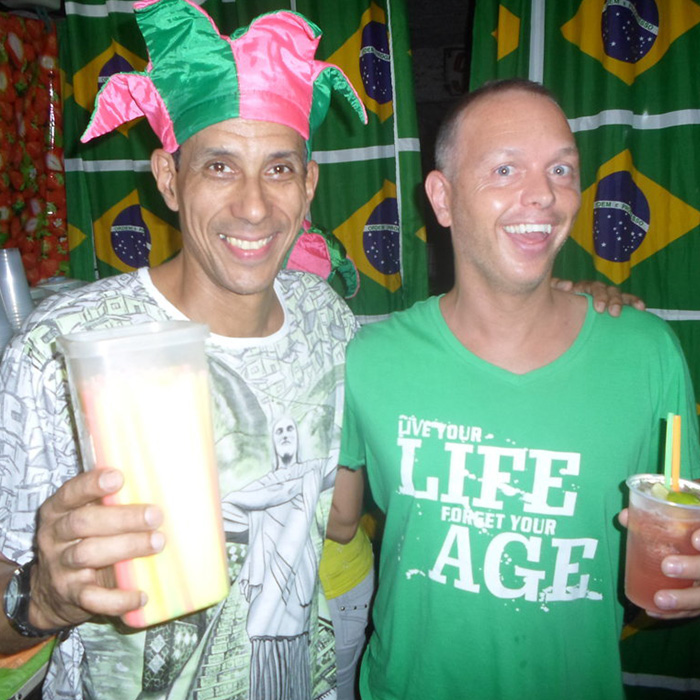 Student learn how to prepare a Caipirinha with Rei do Limão in Lapa, Rio de Janeiro.