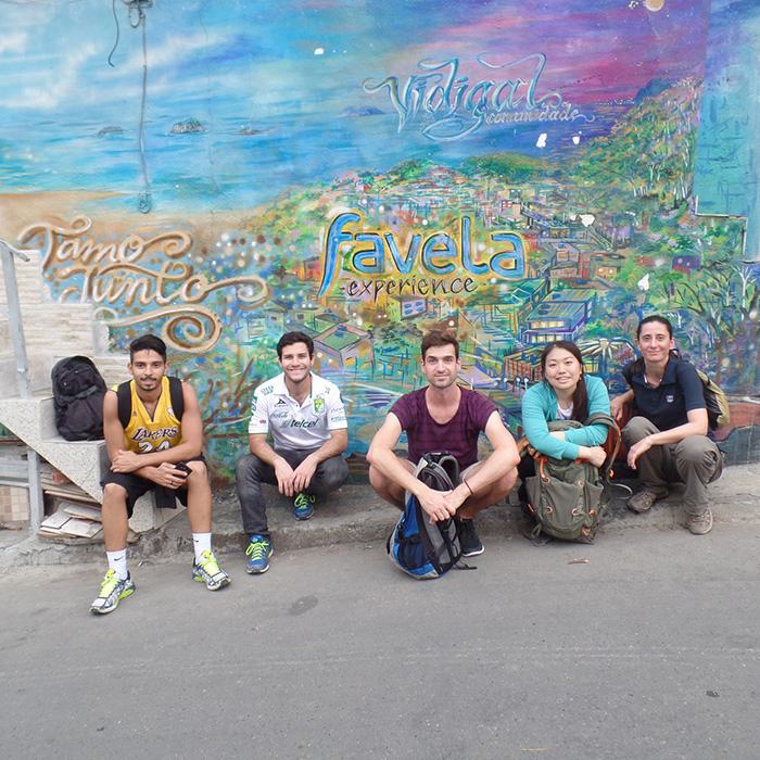 Foreigners students visiting Favela do Vidigal in Rio de Janeiro.
