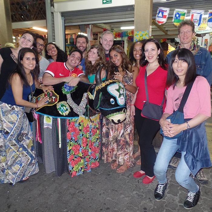 Students enjoying Feira de São Cristóvão in Rio de Janeiro.