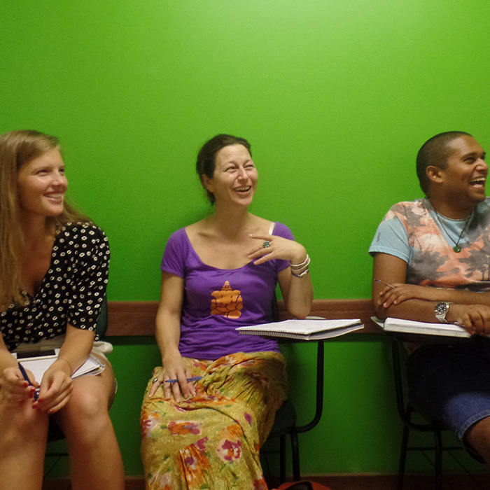 Portuguese Language School in Rio de Janeiro. Foreigner students in a fun Portuguese class.