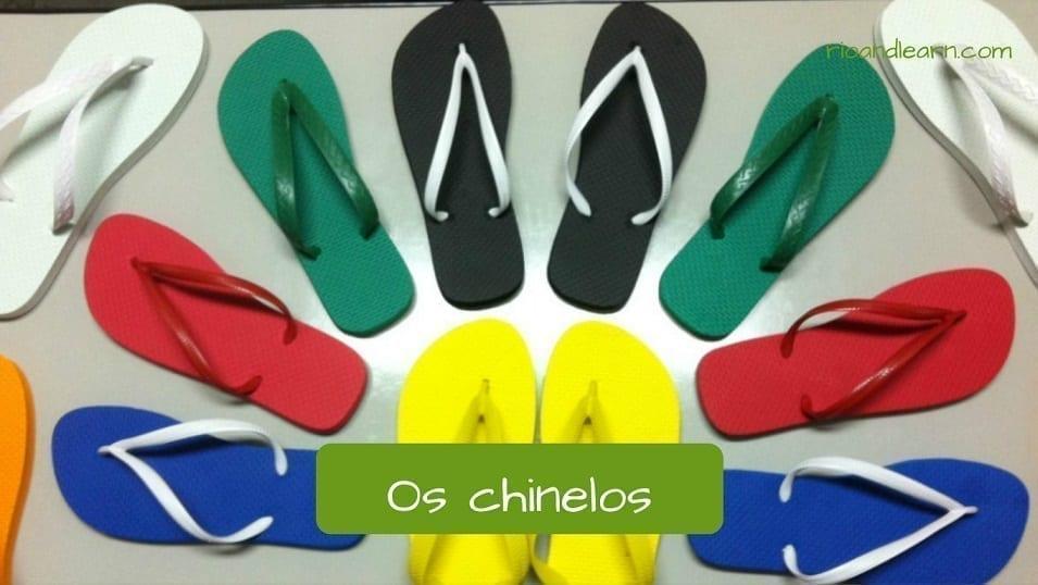 Tipos de calçados em português os chinelos.