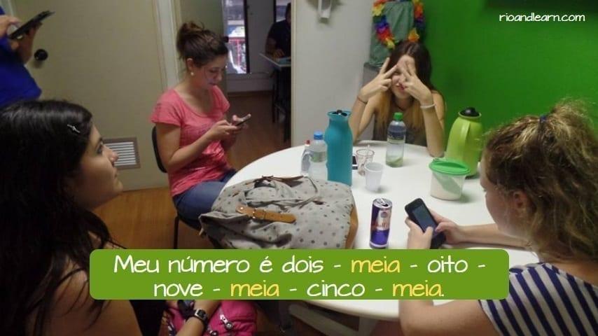 Ejemplo con el número meia en portugués para extranjeros.