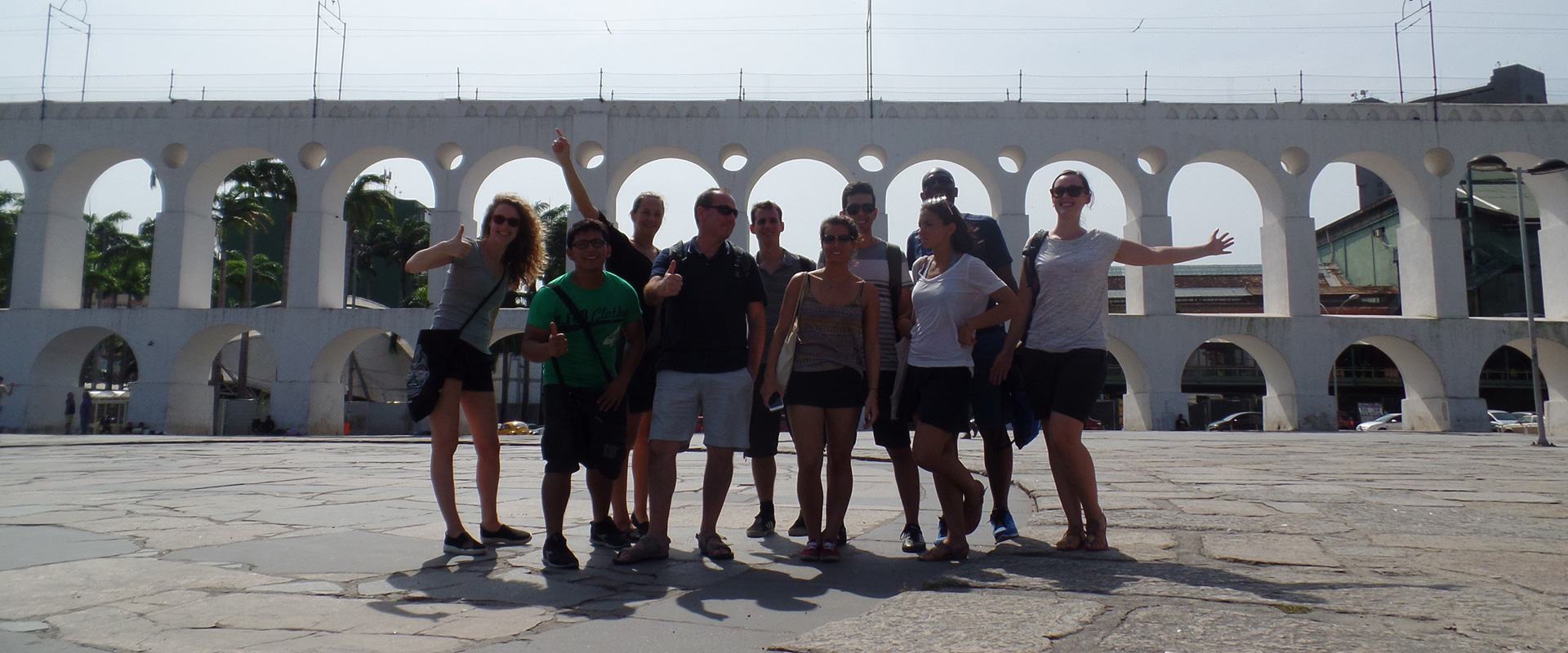 Fun Portuguese Class at Arcos da Lapa. Foreigner students of Brazilian Portuguese in Rio de Janeiro.