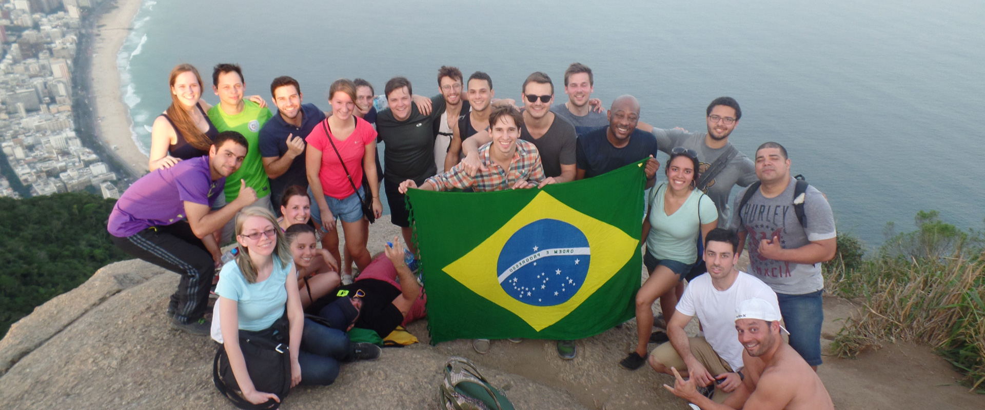 Portuguese language students at Morro Dois Irmão in the RioLIVE! Activities in Rio de Janeiro.