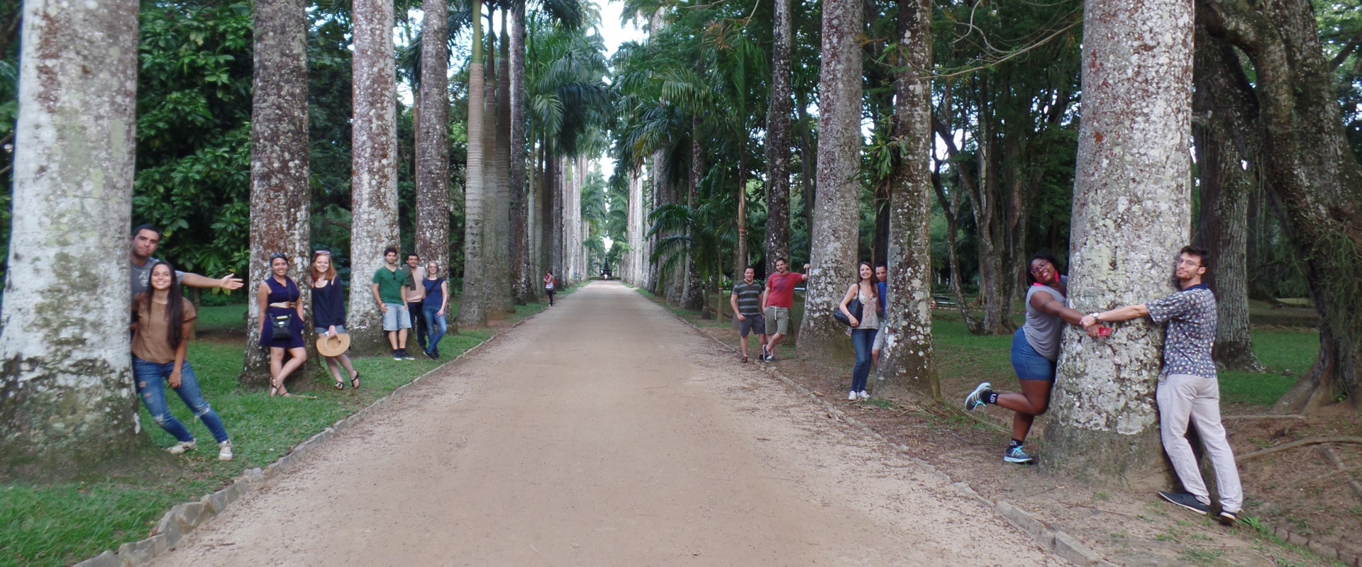 Students hugging trees at Botanical Garden in the RioLIVE! Activities in Rio de Janeiro.