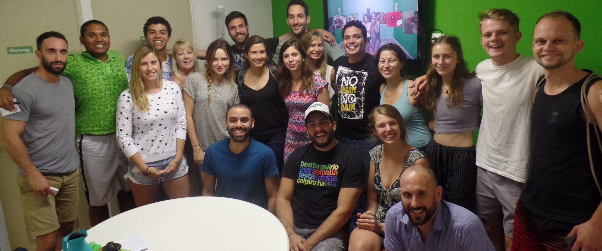 Foreigners students and Brazilian teacher from a Portuguese Language School in Brazil.